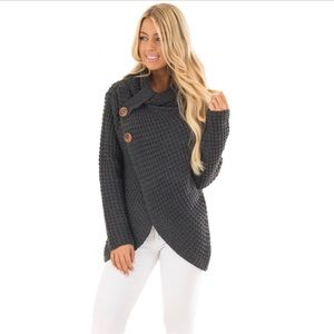 Sweaters - 🆕 Charcoal Cowl Neck Chunky Knit Sweater